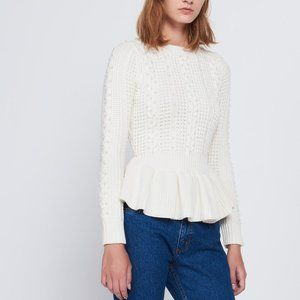 NWT sandro Rickie Peplum Beaded Cableknit Sweater